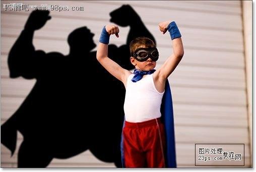 photoshop制作小朋友的超人背影