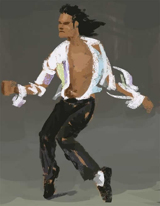 PS和数位板绘制一张MJ经典舞步油画图片