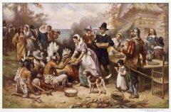 历史绘画摄影作品中的感恩节
