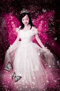 PS将美女照片打造成粉红色蝴蝶仙子