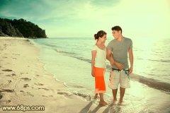 PS调出温馨暖色调海滩情侣照片
