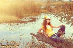 PS调出小溪边美女照片的柔和暖色调