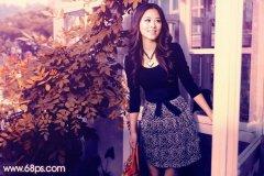PS调出柔美的秋季紫红色调外景人物照片