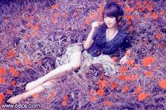 PS调出花丛中美女照片的柔和紫红色调