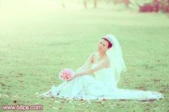 photoshop调出草地婚片的甜美淡绿色彩