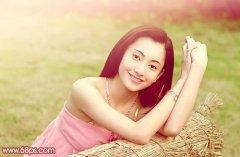 photoshop调出甜美粉色春季外景美女图片