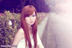 photoshop调出红润甜美的暗调紫红色外景美女