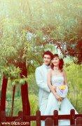 photoshop调出甜美的青黄色树林婚片