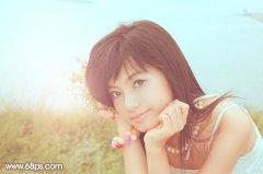 PS调色教程:韩系柔和淡橙色河边美女图片