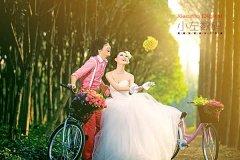 photoshop调出树林婚片的柔美黄绿阳光色彩