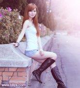 photoshop调出夏季外景美女的甜美粉紫色