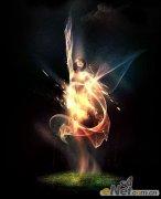 超现实照片处理教程:火焰飞翔美女