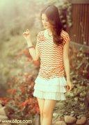 PS调出柔美黄褐色调夏季美女图片