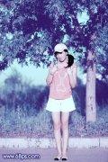 PS调出外景美女图片的时尚韩系粉蓝色调