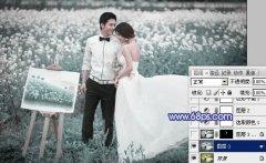 Photoshop调出梦幻暗蓝色油菜花外景婚片