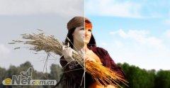 Photoshop调色教程:调出麦地美女阳光暖色调