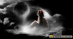 photoshop合成超现实梦幻夜空下的MM插画