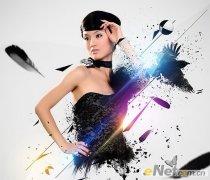 photoshop制作抽象炫丽的美女海报