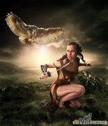 PS制作原始部落美女战士图片