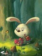 ps绘制森林中采蘑菇的Q版小兔子