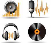 黑色经典的音乐物品图标