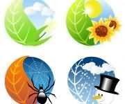 清新漂亮的春夏秋冬四季图标