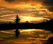 河岸边的金色霞光