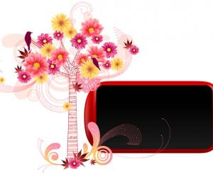 红色小树花相框