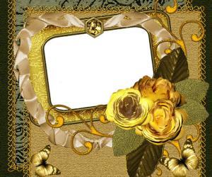 绚丽的金边花朵贴纸相框