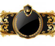 超酷的金色花纹皇冠相框