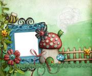 一款绿色的可爱卡通相框
