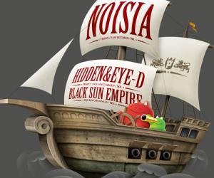 古典的卡通风格航海船插画