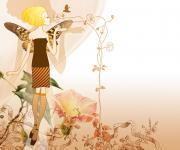可爱的蝴蝶女孩溶图背景