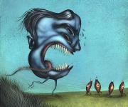 一组独特的水生鱼类插画