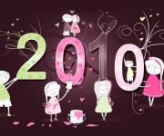 漂亮的2010新年主题插画